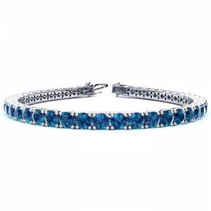 SuperJeweler 11 3/4 Carat Blue Diamond Tennis Bracelet in 14K White Gold (15.4 g), 9 Inches by SuperJeweler