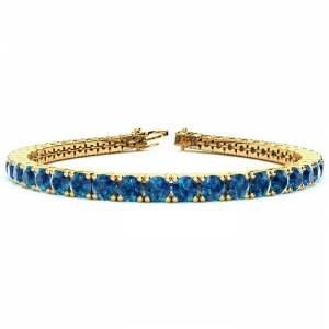 SuperJeweler 10 1/2 Carat Blue Diamond Tennis Bracelet in 14K Yellow Gold (13.7 g), 8 Inches by SuperJeweler