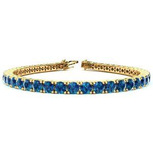 SuperJeweler 10 1/2 Carat Blue Diamond Tennis Bracelet in 14K Yellow Gold (13.7 g), 8 Inches by SuperJeweler