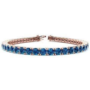 SuperJeweler 10 1/2 Carat Blue Diamond Tennis Bracelet in 14K Rose Gold (13.7 g), 8 Inches by SuperJeweler