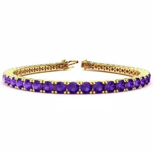 SuperJeweler 9 3/4 Carat Amethyst Tennis Bracelet in 14K Yellow Gold (10.3 g), 6 Inch by SuperJeweler