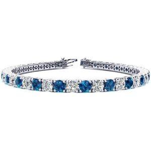 SuperJeweler 11 1/5 Carat Blue & White Diamond Tennis Bracelet in 14K White Gold (14.6 g), 8.5 Inches,  by SuperJeweler
