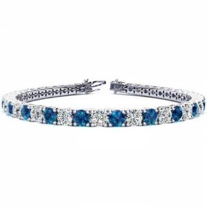 SuperJeweler 11 3/4 Carat Blue & White Diamond Tennis Bracelet in 14K White Gold (15.4 g), 9 Inches,  by SuperJeweler