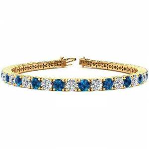 SuperJeweler 10 1/2 Carat Blue & White Diamond Tennis Bracelet in 14K Yellow Gold (13.7 g), 8 Inches,  by SuperJeweler