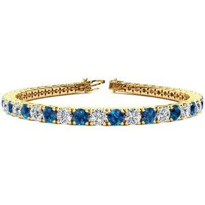 SuperJeweler 11 1/5 Carat Blue & White Diamond Tennis Bracelet in 14K Yellow Gold (14.6 g), 8.5 Inches,  by SuperJeweler
