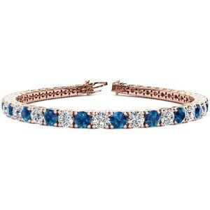 SuperJeweler 10 1/2 Carat Blue & White Diamond Tennis Bracelet in 14K Rose Gold (13.7 g), 8 Inches,  by SuperJeweler