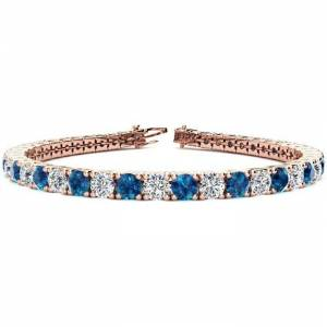 SuperJeweler 11 1/5 Carat Blue & White Diamond Tennis Bracelet in 14K Rose Gold (14.6 g), 8.5 Inches,  by SuperJeweler