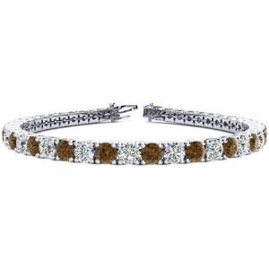 SuperJeweler 10 1/2 Carat Chocolate Bar Brown Champagne & White Diamond Tennis Bracelet in 14K White Gold (13.7 g), 8 Inches,  by SuperJeweler