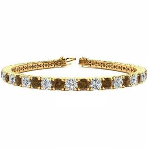 SuperJeweler 11 3/4 Carat Chocolate Bar Brown Champagne & White Diamond Tennis Bracelet in 14K Yellow Gold (15.4 g), 9 Inches,  by SuperJeweler