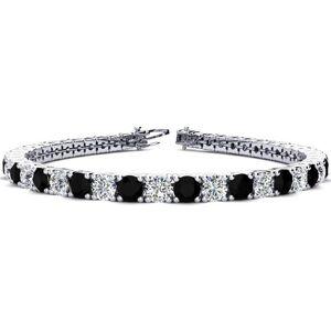 SuperJeweler 10 1/2 Carat Black & White Diamond Tennis Bracelet in 14K White Gold (13.7 g), 8 Inches,  by SuperJeweler