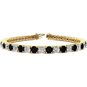SuperJeweler 10 1/2 Carat Black & White Diamond Tennis Bracelet in 14K Yellow Gold (13.7 g), 8 Inches,  by SuperJeweler