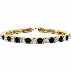 SuperJeweler 11 1/5 Carat Black & White Diamond Tennis Bracelet in 14K Yellow Gold (14.6 g), 8.5 Inches,  by SuperJeweler