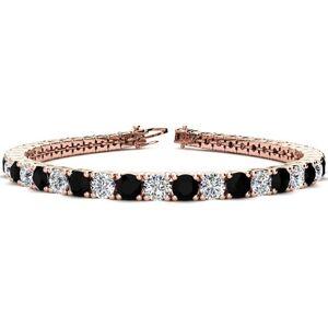 SuperJeweler 11 1/5 Carat Black & White Diamond Tennis Bracelet in 14K Rose Gold (14.6 g), 8.5 Inches,  by SuperJeweler