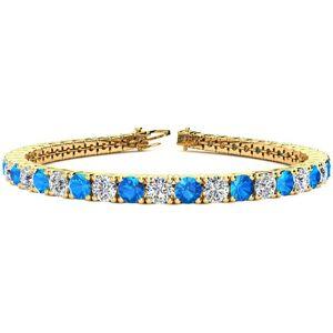SuperJeweler 12 Carat Blue Topaz & Diamond Tennis Bracelet in 14K Yellow Gold (13.7 g), 8 Inches,  by SuperJeweler