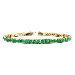 SuperJeweler 5 Carat Emerald Tennis Bracelet in 14K Yellow Gold (8.1 g), 6 Inch by SuperJeweler