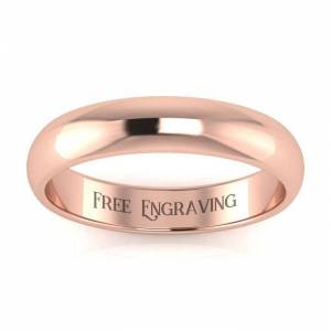 SuperJeweler 18K Rose Gold (3.1 g) 4MM Ladies & Men's Wedding Band, Size 5, Free Engraving by SuperJeweler