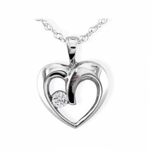 SuperJeweler 1/10 Carat Diamond Heart Pendant Necklace in White Gold (1.2 g), , 18 Inch Chain by SuperJeweler
