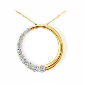 SuperJeweler 1 Carat Circle Style Journey Diamond Pendant Necklace in 14k Yellow Gold (6 g), , 18 Inch Chain by SuperJeweler
