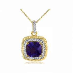 SuperJeweler Rope Design Amethyst & Diamond Pendant Necklace in 14k Yellow Gold (2.9 g), , 18 Inch Chain by SuperJeweler