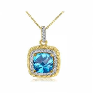 SuperJeweler Rope Design Blue Topaz & Diamond Pendant Necklace in 14k Yellow Gold (2.9 g), , 18 Inch Chain by SuperJeweler