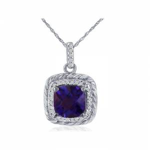 SuperJeweler Rope Design Amethyst & Diamond Pendant Necklace in 14k White Gold (2.9 g), , 18 Inch Chain by SuperJeweler