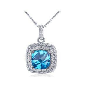 SuperJeweler Rope Design Blue Topaz & Diamond Pendant Necklace in 14k White Gold (2.9 g), , 18 Inch Chain by SuperJeweler