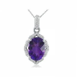 SuperJeweler Enormous Amethyst & Diamond Pendant Necklace in 14k White Gold (6 g), , 18 Inch Chain by SuperJeweler
