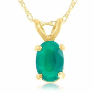 SuperJeweler 1/2 Carat Oval Emerald Pendant Necklace in 14k Yellow Gold (0.7 g), 18 Inch Chain by SuperJeweler