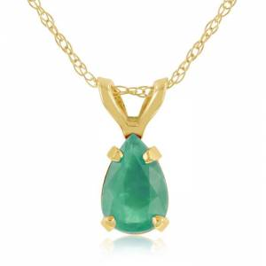 SuperJeweler 1/2 Carat Pear Shaped Emerald Pendant Necklace in 14k Yellow Gold (0.7 g), 18 Inch Chain by SuperJeweler