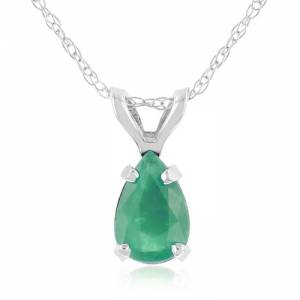 SuperJeweler 1/2 Carat Pear Shaped Emerald Pendant Necklace in 14k White Gold (0.7 g), 18 Inch Chain by SuperJeweler