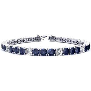 SuperJeweler 13 3/4 Carat Sapphire & Diamond Alternating Tennis Bracelet in 14K White Gold (13.7 g), 8 Inches,  by SuperJeweler