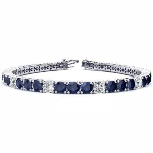 SuperJeweler 15 1/2 Carat Sapphire & Diamond Alternating Tennis Bracelet in 14K White Gold (15.4 g), 9 Inches,  by SuperJeweler