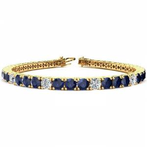 SuperJeweler 13 3/4 Carat Sapphire & Diamond Alternating Tennis Bracelet in 14K Yellow Gold (13.7 g), 8 Inches,  by SuperJeweler