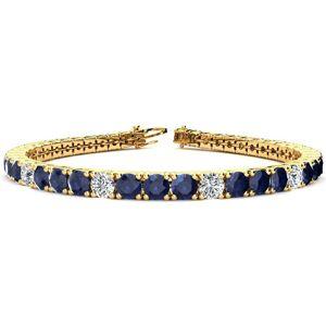 SuperJeweler 15 1/2 Carat Sapphire & Diamond Alternating Tennis Bracelet in 14K Yellow Gold (15.4 g), 9 Inches,  by SuperJeweler