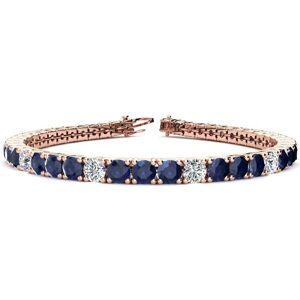 SuperJeweler 13 3/4 Carat Sapphire & Diamond Alternating Tennis Bracelet in 14K Rose Gold (13.7 g), 8 Inches,  by SuperJeweler