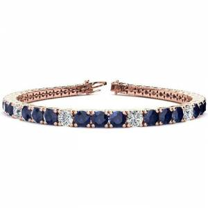 SuperJeweler 15 1/2 Carat Sapphire & Diamond Alternating Tennis Bracelet in 14K Rose Gold (15.4 g), 9 Inches,  by SuperJeweler