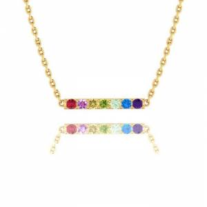 SuperJeweler 1/2 Carat Natural Gemstone Rainbow Bar Necklace in 14K Yellow Gold (2 g), 18 Inch Chain by SuperJeweler