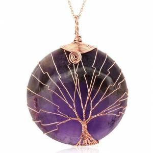 SuperJeweler Rose Gold (23.40 g) Tree of Life Wire Wrapped Amethyst Circle Necklace, 18 Inches in Sterling Silver by SuperJeweler