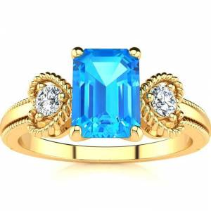SuperJeweler 1 1/3 Carat Blue Topaz & Two Diamond Heart Ring in Yellow Gold (2.8 g), , Size 4 by SuperJeweler