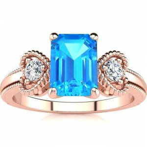 SuperJeweler 1 1/3 Carat Blue Topaz & Two Diamond Heart Ring in Rose Gold (2.8 g), , Size 4 by SuperJeweler