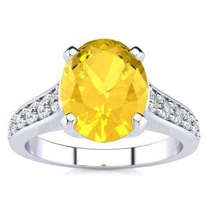 SuperJeweler 2 Carat Oval Shape Citrine & 12 Diamond Ring in 14K White Gold (4.20 g), , Size 4 by SuperJeweler