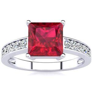 SuperJeweler Square Step Cut 1 7/8 Carat Ruby & 10 Diamond Ring in 14K White Gold (3.40 g), , Size 4 by SuperJeweler