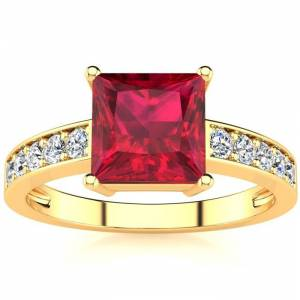 SuperJeweler Square Step Cut 1 7/8 Carat Ruby & 10 Diamond Ring in 14K Yellow Gold (3.40 g), , Size 4 by SuperJeweler