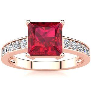 SuperJeweler Square Step Cut 1 7/8 Carat Ruby & 10 Diamond Ring in 14K Rose Gold (3.40 g), , Size 4 by SuperJeweler