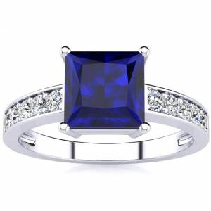 SuperJeweler Square Step Cut 1 7/8 Carat Sapphire & 10 Diamond Ring in 14K White Gold (3.40 g), , Size 4 by SuperJeweler