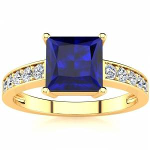 SuperJeweler Square Step Cut 1 7/8 Carat Sapphire & 10 Diamond Ring in 14K Yellow Gold (3.40 g), , Size 4 by SuperJeweler