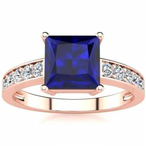 SuperJeweler Square Step Cut 1 7/8 Carat Sapphire & 10 Diamond Ring in 14K Rose Gold (3.40 g), , Size 4 by SuperJeweler