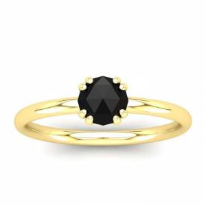 SuperJeweler 1/2 Carat Rose Cut Black Diamond Solitaire Engagement Ring in 14K Yellow Gold (2.21 g), Size 4 by SuperJeweler
