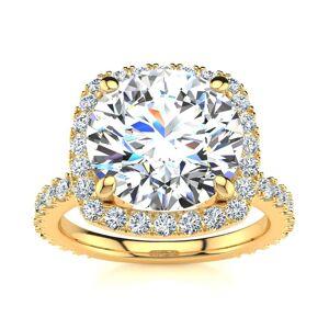 SuperJeweler 5 1/4 Carat Round Brilliant Halo Diamond Engagement Ring in 14K Yellow Gold (5 g) (, I1-I2 Clarity Enhanced), Size 4 by SuperJeweler