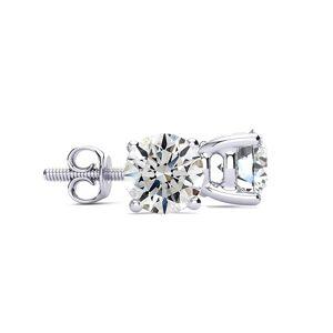 SuperJeweler 4.14 Carat Round Diamond Stud Earrings in 14K White Gold (2 Grams) ( Color, SI1-SI2 Clarity) by SuperJeweler